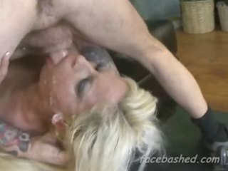 golden-haired woman extraordinary gagging