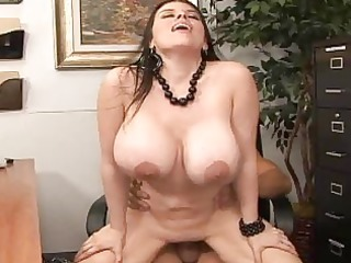 longhaired brunette hair with large titties