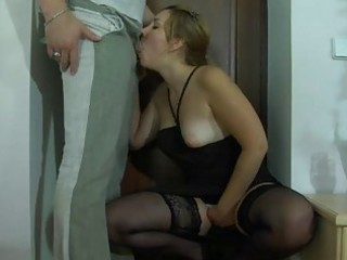 fiery chick teasing a chap with her lacy nylons