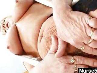 grandma in uniform widens blonde bushy bawdy cleft