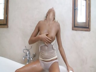titty blond honey teasing with shower