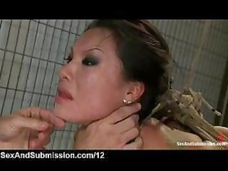 Rope bondage asian mouth fucked