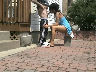 cute college teenager 1st time drilled on tape