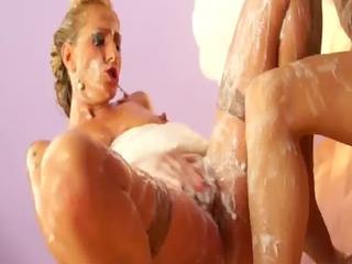 bukkake drenched lesbo women