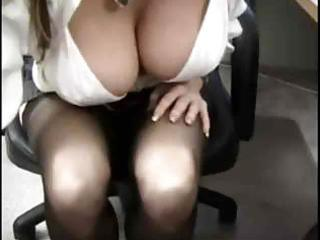 large tit office wench in nylons eager for wang