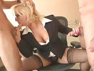 impure blond cougar with glasses sucks hard beefs