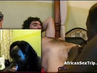 lengthy hair african hooker blows white jock then