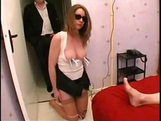 housewife, spanked by her spouse in the street