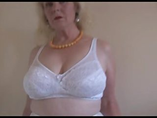older breasty lady in nylons and sheer slide