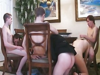 fellows playing poker and having sex