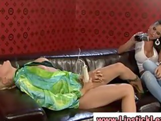 euro lesbians undress and use toys on their moist