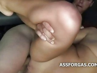 thick blond receives muff slammed in a van moving