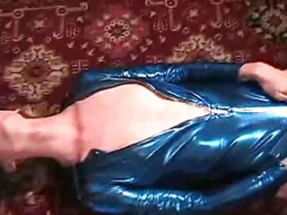 lady-boy mandy solo in blue foil with a toy