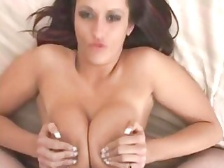 nice-looking brinete does excellent titjob with