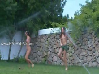 polish hotties watersports in the garden