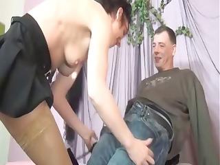 small non-professional dark brown granny receives