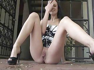 lengthy legged brunette hair playgirl masturbates
