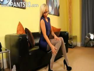 blonde in incredible nylon hose