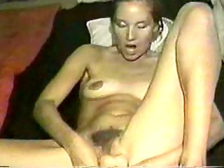 huge toy in unshaved pussy