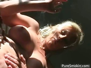 stripped blonde babe smokes cigar with her part11
