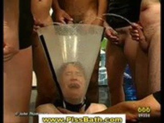 Babe drinks piss and gets anal in watersports