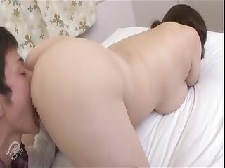 plump aged oriental slut licks his penis and