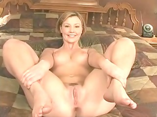 randy blonde in black stockings undress-teases on