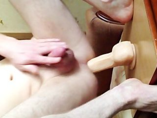 jumping on a large sextoy with fleshlight
