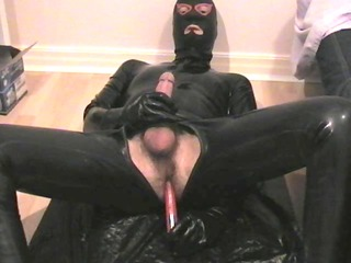 prostate massage spunk flow in latex rubber