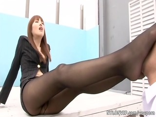 oriental nylon hose footjob sex