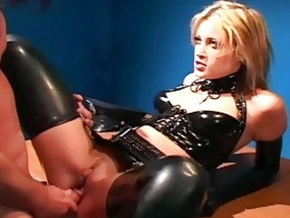 uniformed hottie sex in gloves and latex underware