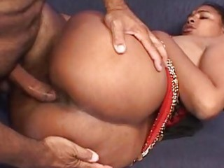 Stupid indian bitch gets fucked hard on a couch