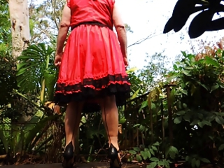 sissy ray outdoors in red costume part 3