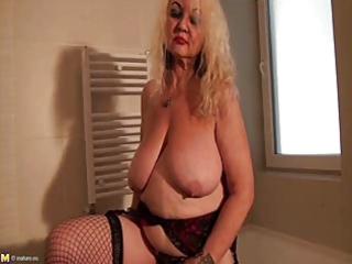 granny dana (61) disrobes and masturbates