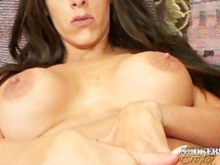 smokin large weenie cums on boobs