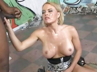 blond with giant bosom receives her face