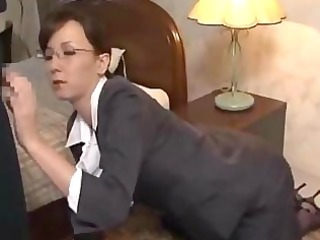 secretary on her knees giving fellatio getting