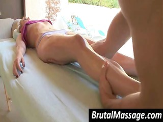sexy blond is getting a priceless oiled up