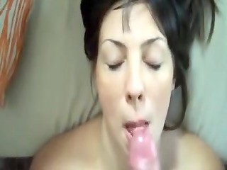 large sperm flow makes a mess of her face
