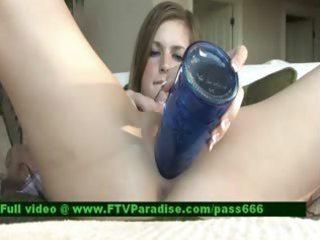 inventive angel stuffing a bottle inside vagina