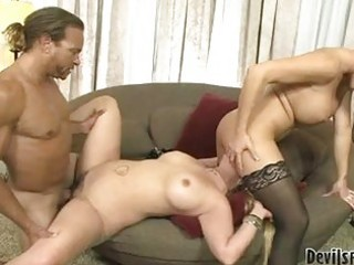 short haired brunette hair and sexy blond receive