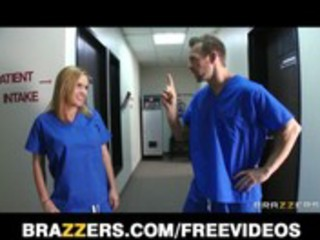 lascivious golden-haired nurse sneaks off at work