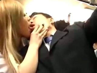 5 sexy schoolgirls engulfing jerking off lad