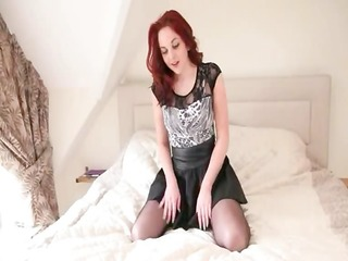 ultra sexually excited redhead fingering on a
