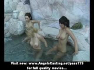 s garb wild lesbo women having three-some in lake