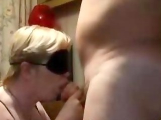 blindfolded older gives bj and acquires