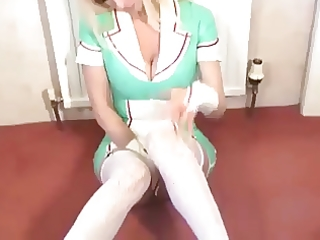 hot nurse in latex mini petticoat uniform