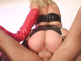 golden-haired in heat presses her booty with knob