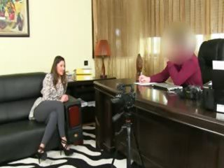 fake agent having sex on leather couch