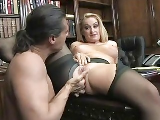 enormous chested blond secretary in ripped hose